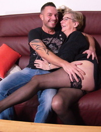 German nan has her leaned groped by toy boy while naked in pantyhose