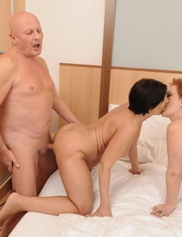 Fat warm grannies Margo T and Eodit sharing 2 fat dick in swinger tart\'s soiree