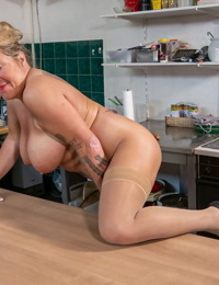 Old cleaning chick strips to sheer tights while stroking in the kitchen