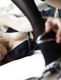 Cool asian honey in underwear Misa Shinozaki uncovering her tits and bushy vagina