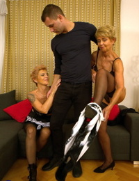 Old fledgling ladies tangle with a youthfull boy during a hard-core three way