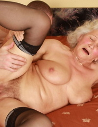 White haired granny Dillon Dayopens her legs for youthful dick & beaver creampie